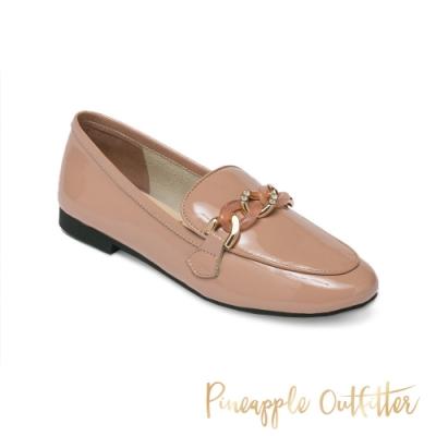 Pineapple Outfitter-MAISA 真皮經典環扣樂福女鞋-鏡粉色
