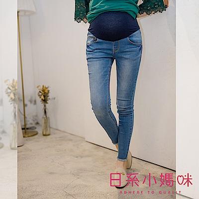 日系小媽咪孕婦裝-孕婦褲~微彈力褲管抽鬚刷色窄管牛仔褲 S-XXL