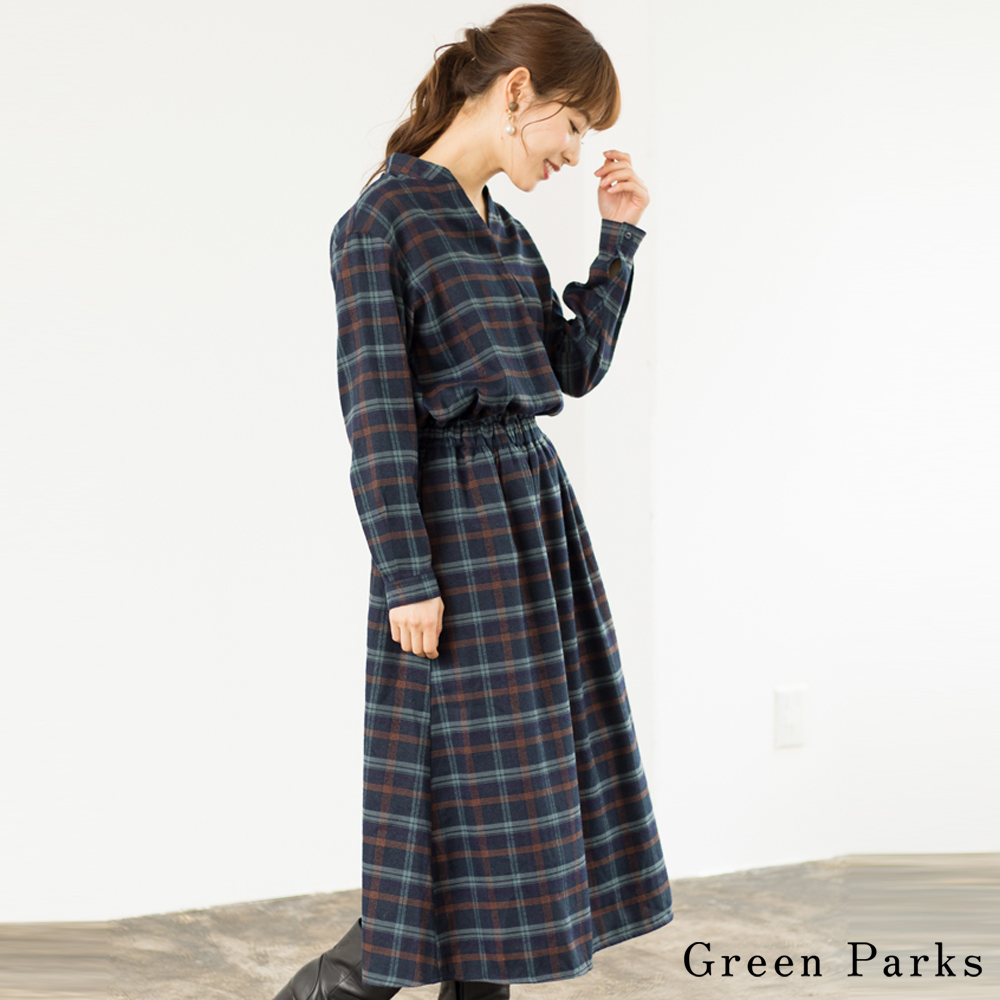 Green Parks 休閒格紋V領連身裙