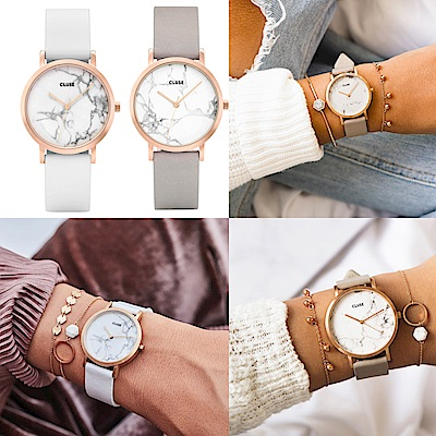 CLUSE La Roche Marble 腕錶/ 玫瑰金框x天然大理石紋-33 /36mm /38mm 多品任選