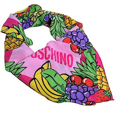 MOSCHINO 義大利熱帶水果TOY小熊LOGO圖騰100%絲質絲巾(粉紅系)