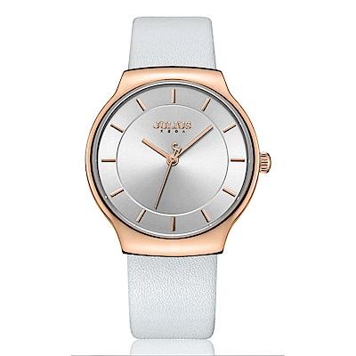 JULIUS聚利時 專屬誓言簡約時尚皮錶帶腕錶-優雅白/38.5X42.5mm