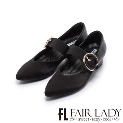 FAIR LADY Soft芯太軟 金屬飾釦剪裁設計尖頭低跟鞋 黑
