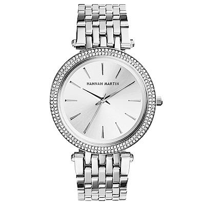 HANNAH MARTIN 點睛品雙圈鑲鑽不鏽鋼腕錶(HM-1185-S)銀x40mm