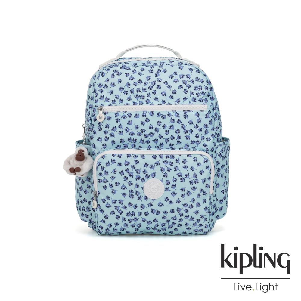 Kipling 典雅淡藍小花多容量媽媽包-SO BABY