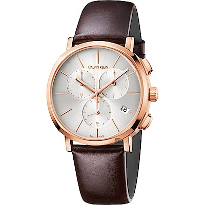 Calvin Klein CK Posh 計時手錶-銀x玫瑰金框/42mm