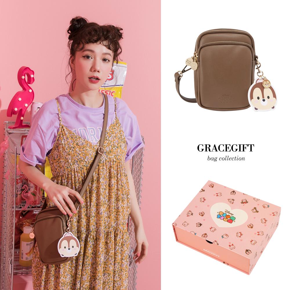 Disney collection by grace gift-雙層直式側背小包 咖