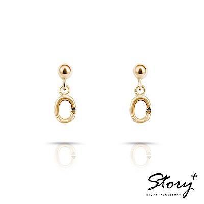 STORY故事銀飾-Charm扣扣系列-基礎耳環(黃K金)