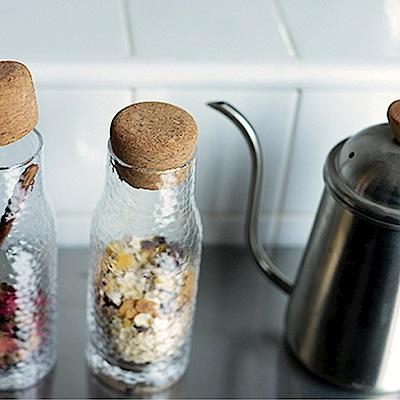 Homely Zakka 軟木塞蓋錘紋玻璃儲物瓶(260ml)