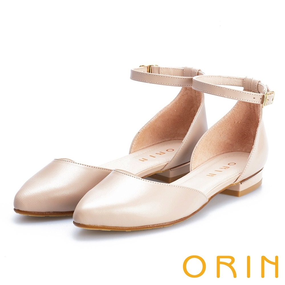 ORIN 典雅時尚 素面繫踝金屬釦帶尖頭低跟鞋-裸色