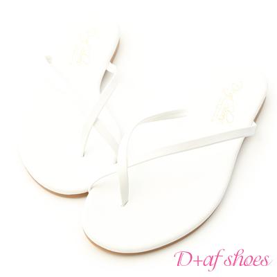 D+AF 涼夏日常.細帶交叉平底夾腳涼鞋*白