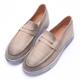 2.Maa (偏大)復古仿舊刷色厚底牛皮樂福鞋 - 米 product thumbnail 1
