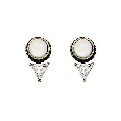 LOVERS TEMPO加拿大品牌 白色寶石三角水晶 復古金屬色耳環