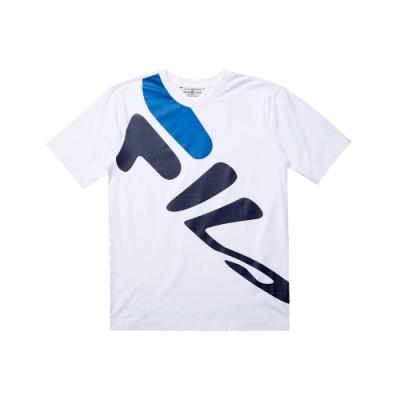 FILA 純棉短袖圓領T恤-白 1TET-5437-WT