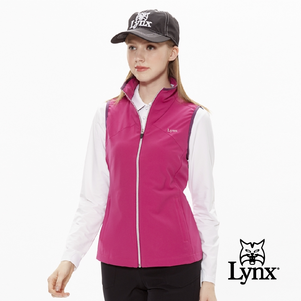 【Lynx Golf】女款3D立領反光印花無袖背心-紫紅色