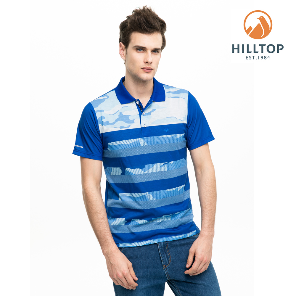 【hilltop山頂鳥】男款吸濕快乾抗菌彈性POLO衫S14MG7藍印花