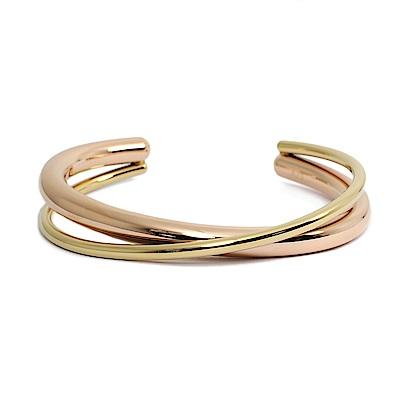 Calvin Klein CK Double簡約交織雙環金x玫瑰金粗手環