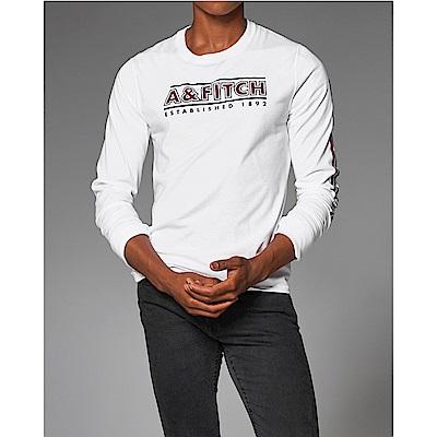 麋鹿 AF A&F 經典文字設計長袖T恤-白色