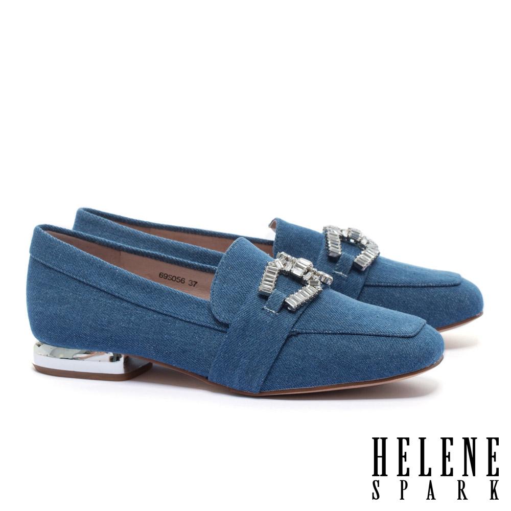 低跟鞋 HELENE SPARK 時尚白鑽馬銜釦造型樂福低跟鞋-藍