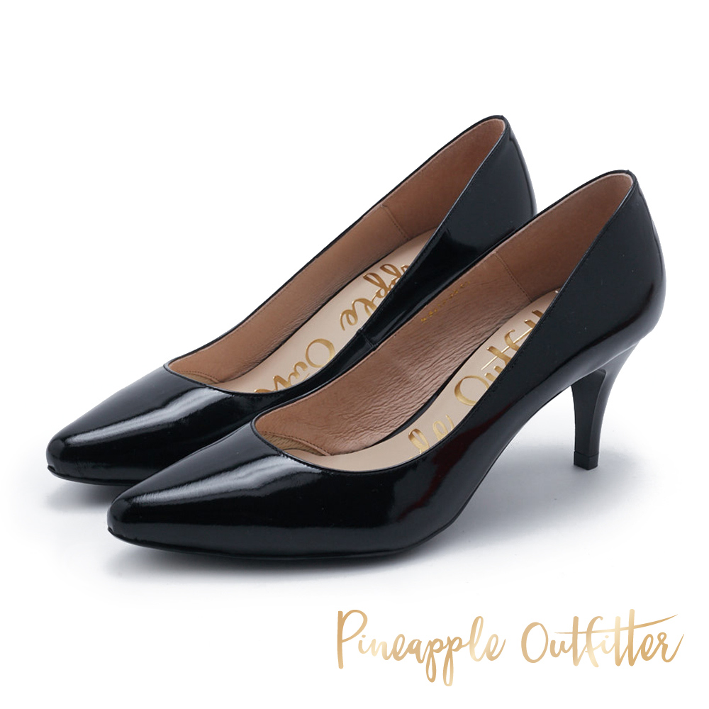Pineapple Outfitter 簡約風尚 素面尖頭中跟鞋-鏡黑