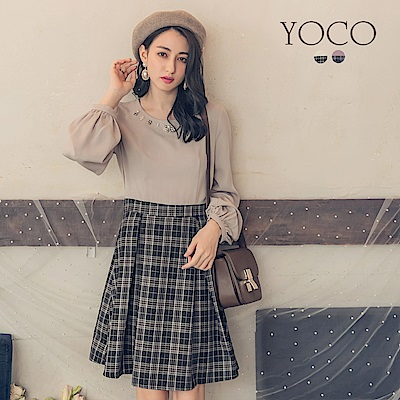 東京著衣-yoco 法式甜美珍珠領飾格紋拼接洋裝-S.M.L(共二色)