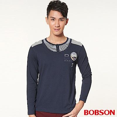 BOBSON 男款仿兩件式長袖上衣(深藍53)