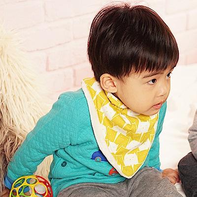 【QBabe】柔軟雙層加絨保暖三角口水圍巾-黃色貓咪