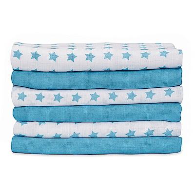 mothercare 藍色星星紗布巾6入 (70x57cm)