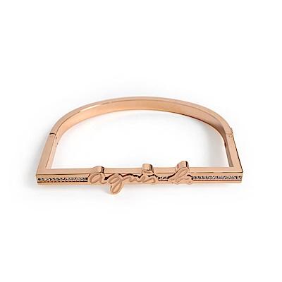 agnes b. LOGO女性手環(玫瑰金)