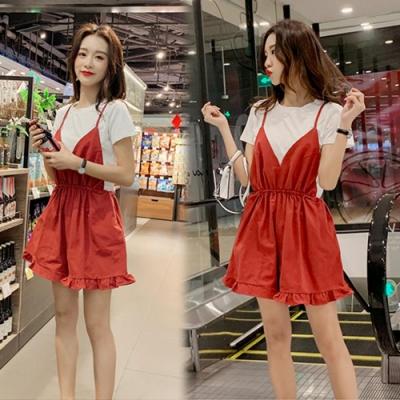 【韓國K.W.】獨家秒殺耀眼二件式短袖洋裝