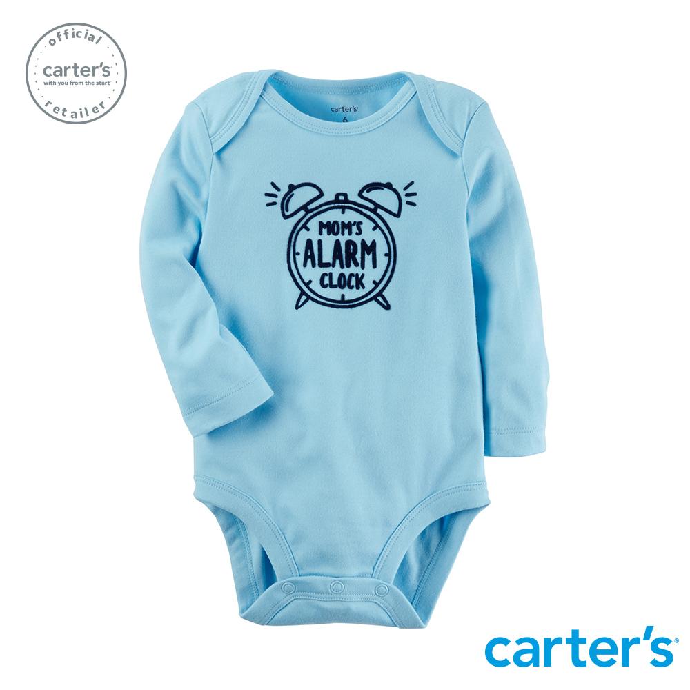 【Carter's】 趣味圖文粉藍長袖包屁衣 (台灣總代理)