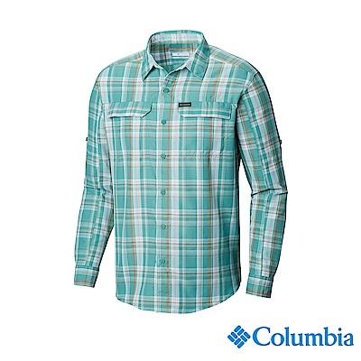 Columbia 哥倫比亞男款-UPF50快排長袖襯衫-綠色格紋 UAE06490
