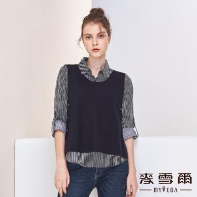 【麥雪爾】雙側排扣兩件式造型背心襯衫