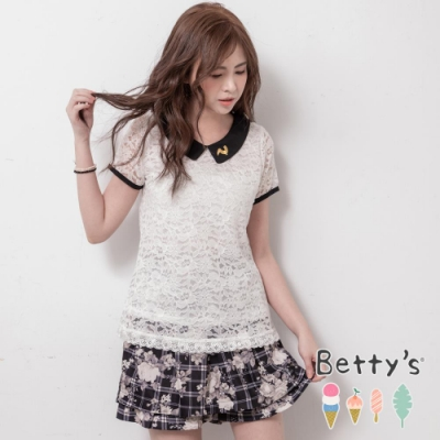 betty's貝蒂思 唯美復古風印花褲裙(黑色)