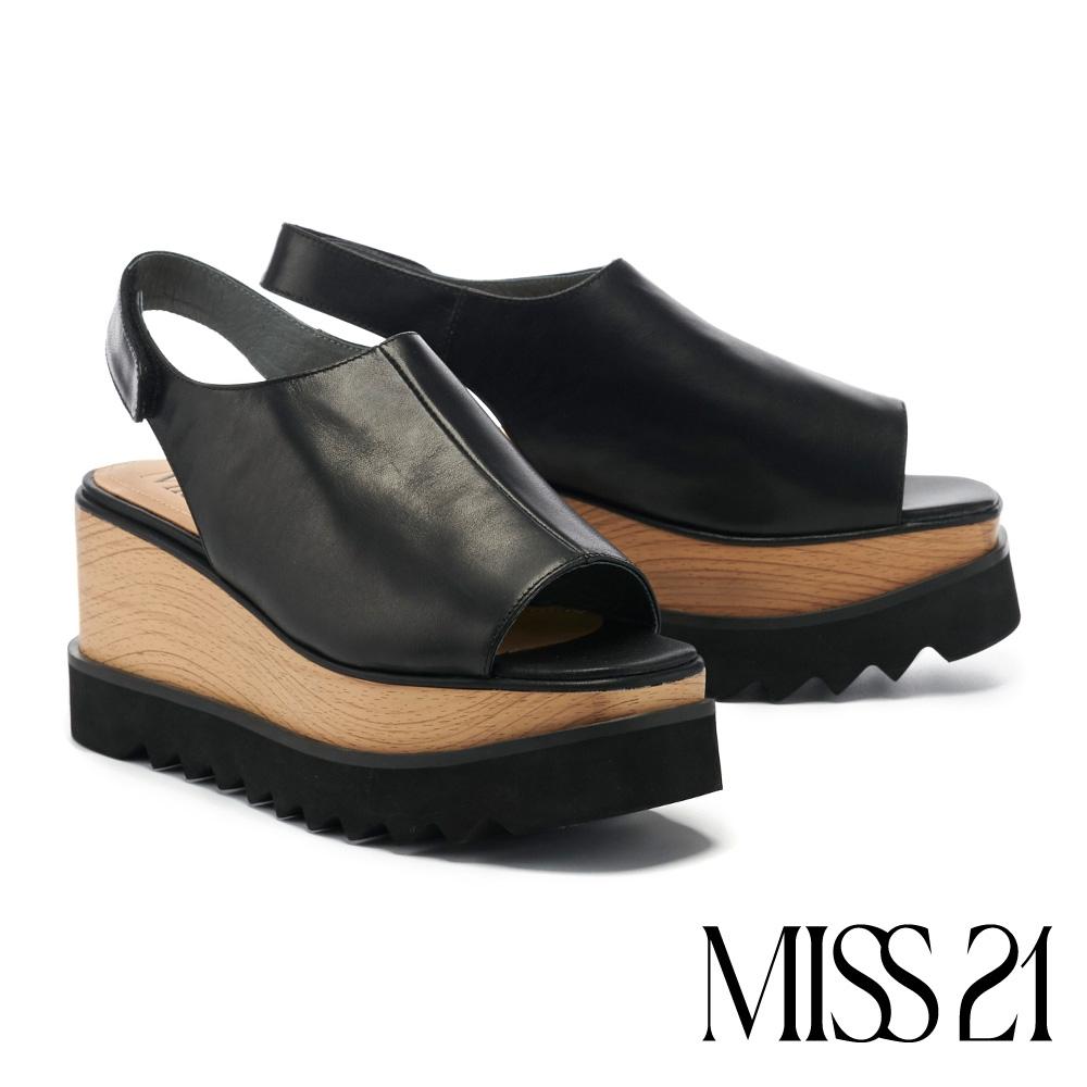 涼鞋 MISS 21  輕熟時尚牛皮後繫帶木紋美型厚底涼鞋-黑