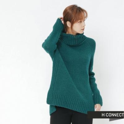 H:CONNECT 韓國品牌 女裝 -側開岔翻領針織毛衣-綠(快)