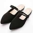 River&Moon穆勒 台灣製 微尖頭Q軟兩穿式跟鞋 黑