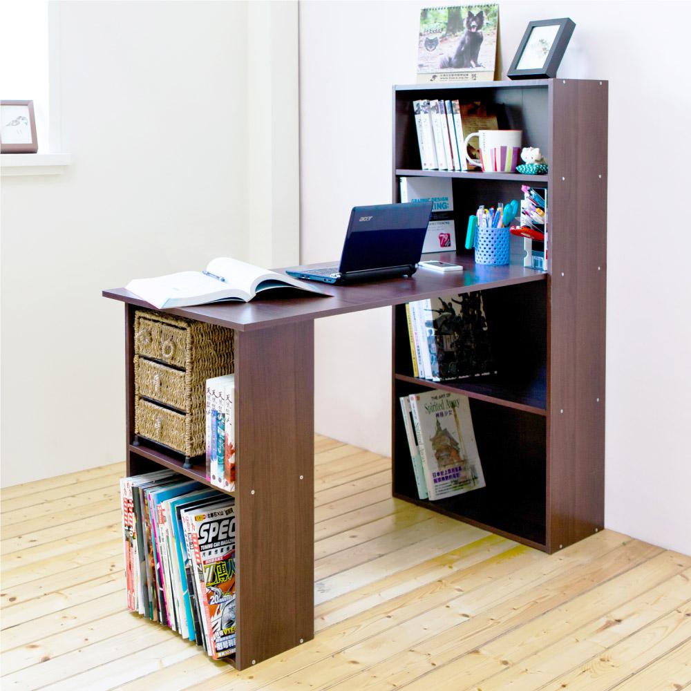 《HOPMA》DIY巧收4+2書櫃型書桌-寬120.5 x深50.5 x高120cm