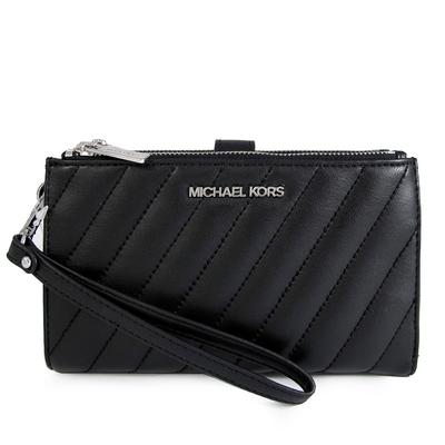 MICHAEL KORS Peyton 銀字Logo绗縫仿生素羊皮雙拉鍊手提長夾(黑色)
