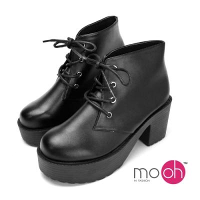 mo.oh粗跟短靴輕量厚底綁帶馬丁靴 黑色