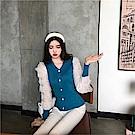 DABI 韓國風V領蕾絲針織衫薄款拼接長袖上衣