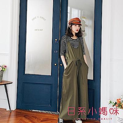 日系小媽咪孕婦裝-正韓孕婦褲 二件式條紋上衣腰抽繩吊帶褲