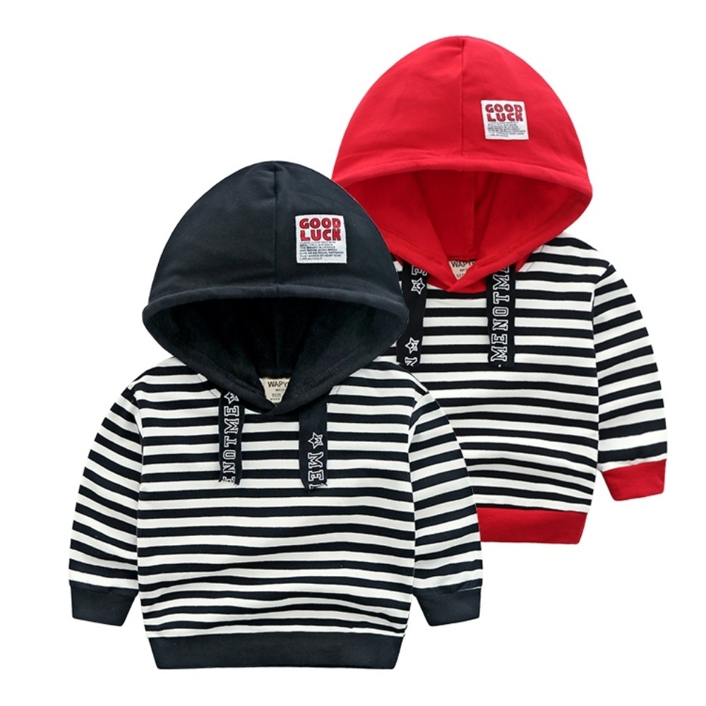 小衣衫童裝 兒童中性款帽子拼色條紋長袖上衣1081015