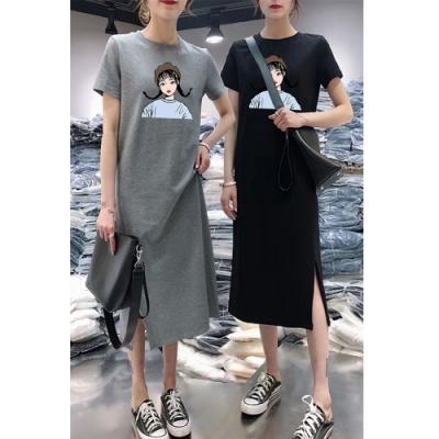 2F韓衣-簡約人物印花開衩造型洋裝-2色(M-2XL)