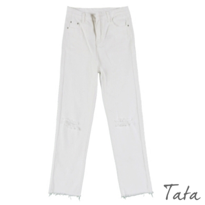 膝蓋刷破直筒白牛仔褲 TATA-(S/M)