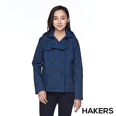 【HAKERS 哈克士】女款 防水短版外套(深藍)