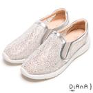 DIANA 絕美魅力--奢華水鑽微尖極修飾輕量休閒鞋-銀