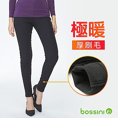 bossini女裝-厚刷毛超彈窄管褲01黑