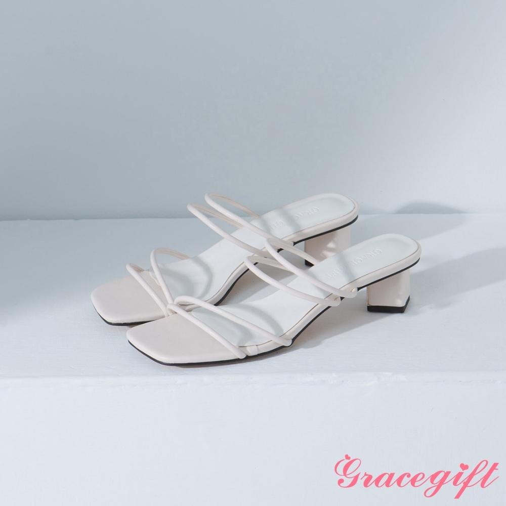 Grace gift-方頭細帶中跟涼拖鞋 米白