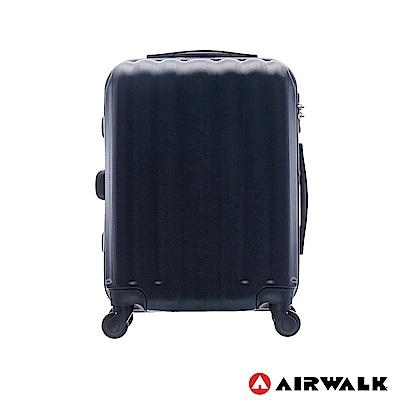 AIRWALK - 海岸線系列 BoBo經濟款ABS硬殼拉鍊20吋行李箱 - 黑水黑